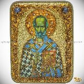 Святитель Николай, архиепископ Мир Ликийский (Мирликийский), чудотворец, подарочная икона, 15х20 на мореном дубе