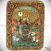 Святой благоверный князь Александр Невский, подарочная икона, 15х20 на мореном дубе