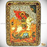 Чудо святого Георгия о змие, подарочная икона, 15х20 на мореном дубе