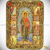 Святой Великомученик и Целитель Пантелеймон, подарочная икона, 15х20 на мореном дубе