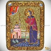 Святая Блаженная Ксения Петербургская, подарочная икона, 15х20 на мореном дубе