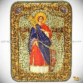 Святая великомученица Екатерина, подарочная икона, 15х20 на мореном дубе