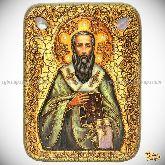 Святитель Василий Великий, подарочная икона, 15х20 на мореном дубе