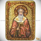 Святитель Григорий Богослов, подарочная икона, 15х20 на мореном дубе