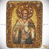 Святитель Иоанн Златоуст, подарочная икона, 15х20 на мореном дубе
