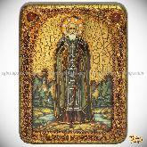 Преподобный Сергий Радонежский чудотворец, Переславский чудотворец, подарочная икона, 15х20 на мореном дубе