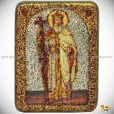 Святой равноапостольный князь Владимир, подарочная икона, 15х20 на мореном дубе