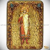 Святой благоверный князь Борис, подарочная икона, 15х20 на мореном дубе