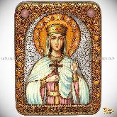 Святая благоверная княгиня Елена Сербская, подарочная икона, 15х20 на мореном дубе