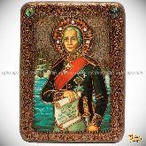 Святой праведный воин Феодор Адмирал (Ушаков), подарочная икона, 15х20 на мореном дубе