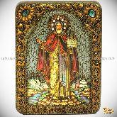 Cвятой благоверный князь Даниил Московский, подарочная икона, 15х20 на мореном дубе