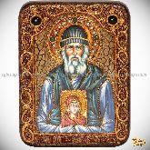 Паисий Святогорец, подарочная икона, 15х20 на мореном дубе