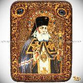Святитель Лука Симферопольский, архиепископ Крымский, подарочная икона, 15х20 на мореном дубе