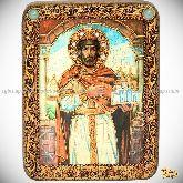 Святой Благоверный князь Ярослав Мудрый, подарочная икона, 15х20 на мореном дубе