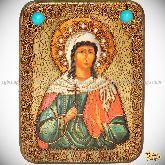 Святая мученица Алла Готфская, подарочная икона, 15х20 на мореном дубе