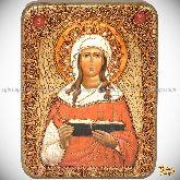 Святая мученица Валентина Кесарийская, подарочная икона, 15х20 на мореном дубе