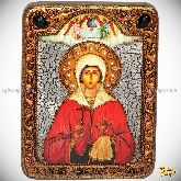 Святая великомученица Анастасия Узорешительница, подарочная икона, 15х20 на мореном дубе