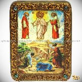 Преображение Господне, подарочная икона, 15х20 на мореном дубе