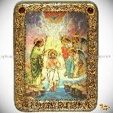 Крещение Господа Бога и Спаса нашего Иисуса Христа, подарочная икона, 15х20 на мореном дубе