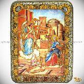 Благовещение Пресвятой Богородицы, подарочная икона, 15х20 на мореном дубе