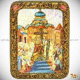 Воздвижение Святого Креста Господня, подарочная икона, 15х20 на мореном дубе