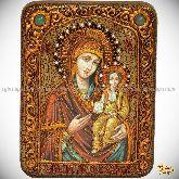 Божией Матери «Одигитрия Смоленская», подарочная икона, 15х20 на мореном дубе