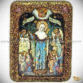 Всех Скорбящих Радость с грошиками, подарочная икона, 15х20 на мореном дубе