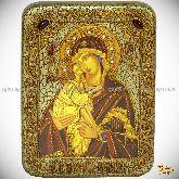 Донская икона Пресвятой Богородицы, подарочная икона, 15х20 на мореном дубе