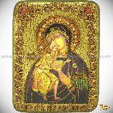 Феодоровская икона Божией Матери, подарочная икона, 15х20 на мореном дубе