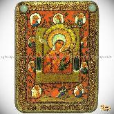 """Образ Божией Матери """"Тихвинская Хлебенная (Запечная)"""", подарочная икона, 15х20 на мореном дубе"""