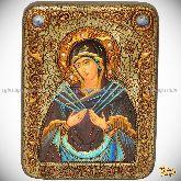 """Образ Божией Матери """"Семистрельная"""", подарочная икона, 15х20 на мореном дубе"""
