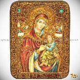 Пресвятой Богородицы «Страстная», подарочная икона, 15х20 на мореном дубе