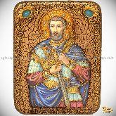 Святой мученик Анатолий Никомидийский, подарочная икона, 15х20 на мореном дубе