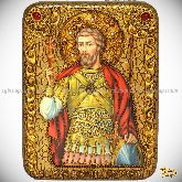 Святой мученик Виктор Дамасский, подарочная икона, 15х20 на мореном дубе
