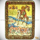 Святой Благоверный Князь Димитрий Донской, подарочная икона, 15х20 на мореном дубе