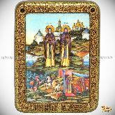 Святые преподобные Александр (Пересвет) и Андрей (Ослябя) Радонежские, подарочная икона, 15х20 на мореном дубе