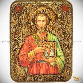 Святой мученик Евгений Севастийский, подарочная икона, 15х20 на мореном дубе