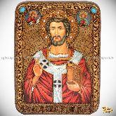 Священномученик Климент, папа Римский, подарочная икона, 15х20 на мореном дубе