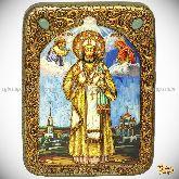 Святитель Тихон Задонский, подарочная икона, 15х20 на мореном дубе