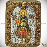 Святой мученик Иоанн Воин, подарочная икона, 15х20 на мореном дубе