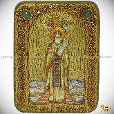 Преподобный Никита Столпник, Переславский чудотворец, подарочная икона, 15х20 на мореном дубе