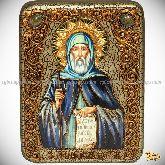 Преподобный Антоний Великий, подарочная икона, 15х20 на мореном дубе