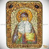 Преподобный Максим Грек, подарочная икона, 15х20 на мореном дубе