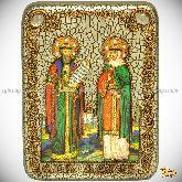 Петр и Февронья, подарочная икона, 15х20 на мореном дубе
