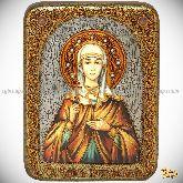 Святая Емилия Кесарийская (Каппадокийская), подарочная икона, 15х20 на мореном дубе