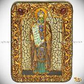 Святой равноапостольный Кирилл Философ, подарочная икона, 15х20 на мореном дубе