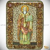 Святой равноапостольный Мефодий Моравский, подарочная икона, 15х20 на мореном дубе