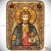 Святой князь Владислав Сербский, подарочная икона, 15х20 на мореном дубе