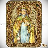 Святая преподобная Ангелина Сербская, подарочная икона, 15х20 на мореном дубе