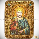 Святой Благоверный князь Вячеслав Чешский, подарочная икона, 15х20 на мореном дубе